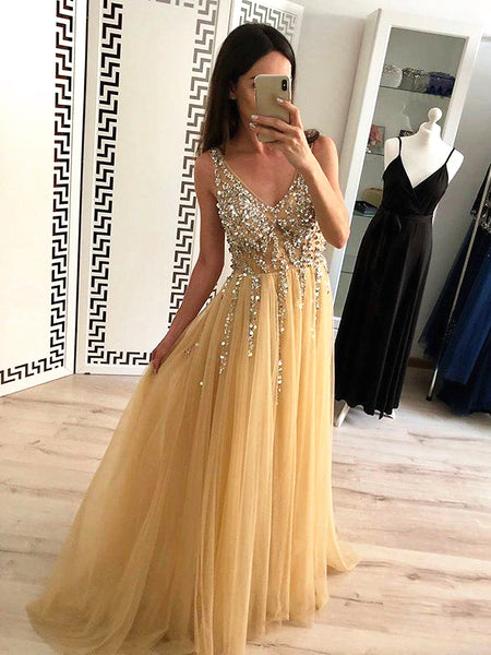 V Neck Backless Yellow Prom Dresses, V Neck Yellow Backless Formal Graduation Evening Dresses
