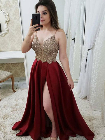 A Line V Neck Burgundy Prom Dresses, Burgundy V Neck Beaded Formal Graduation Evening Dresses