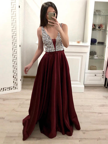 A Line V Neck Burgundy/Pink Floor Length Prom Dresses, Burgundy/Pink Formal Graduation Evening Dresses