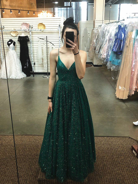 Shiny A Line V Neck Emerald Green Prom Dresses, Green V Neck Formal Graduation Evening Dresses
