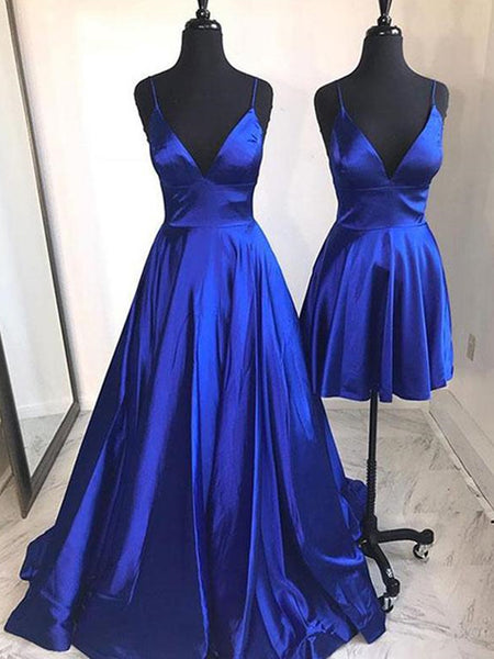 A Line V Neck Blue Prom Dresses, V Neck Blue Evening Formal Graduation Dresses