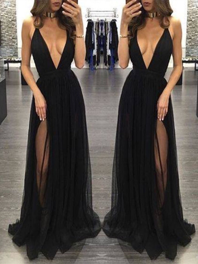 Custom Made Black V Neck Prom Dresses, Black V Neck Formal Dresses