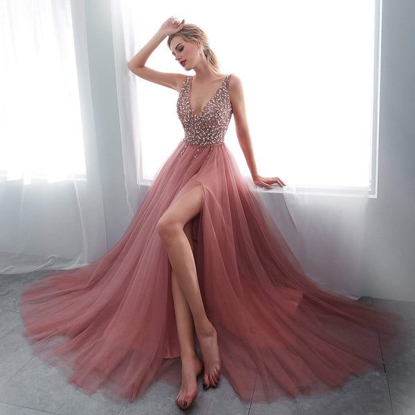 A Line V Neck Pink Tulle Prom Dress with Corset Back, Pink V Neck Formal Dresses, Graduation Dresses
