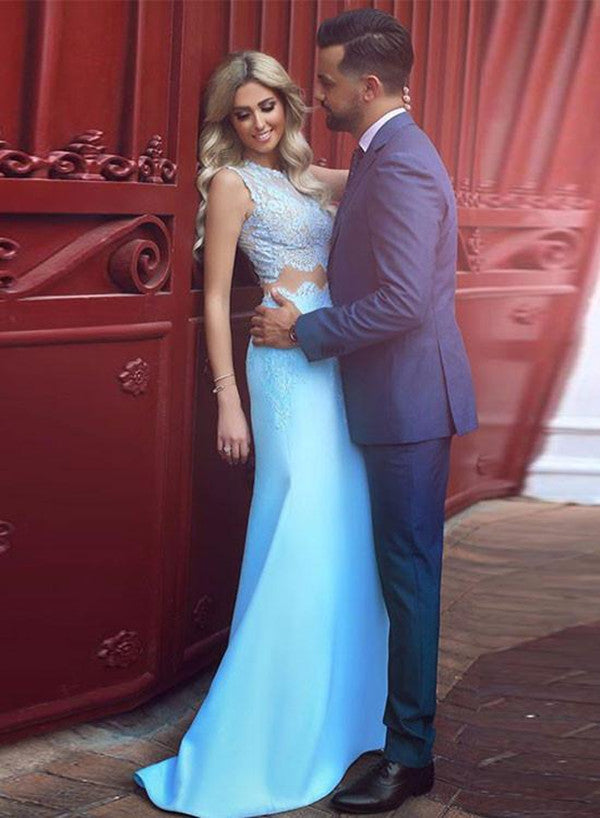 2 Pieces Light Blue Lace Mermaid Prom Dress 2 Pieces Lace Formal