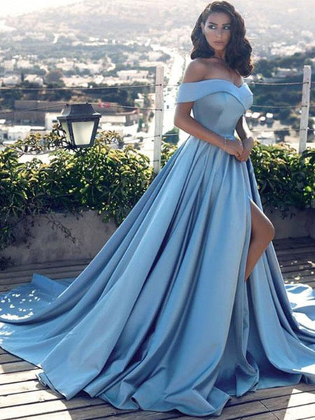 Custom Made Off Shoulder Blue Prom Gown with Slit, Blue Formal Dress with Sweep Train