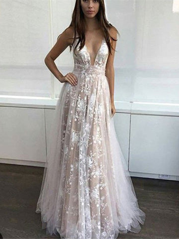 Custom Made A Line V Neck Lace Prom Dresses, V Neck Lace Formal Dresses