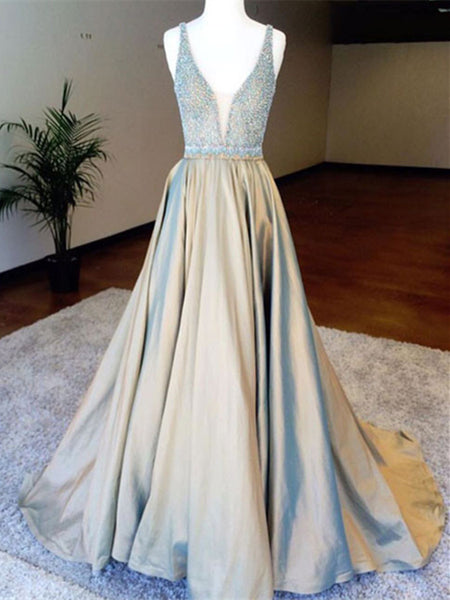 Custom Made A Line V Neck Open Back Prom Dresses, V Neck Backless Formal Dresses