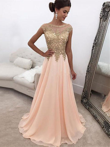 Custom Made A Line Round Neck Pink Chiffon Prom Dress, Pink Formal Dress
