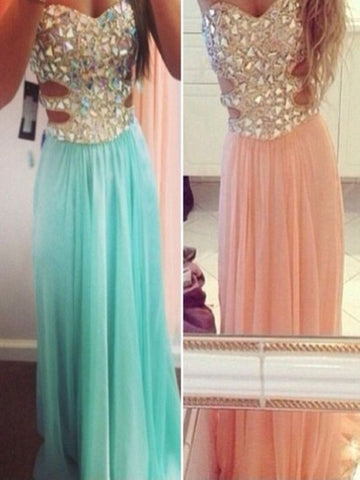 A Line Sweetheart Neck Long Pink/Blue Prom Dress, Formal Dress, Evening Dress