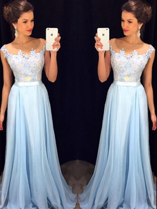 Custom Made A Line Round Neck Light Blue Prom Dress, Long Formal Dress