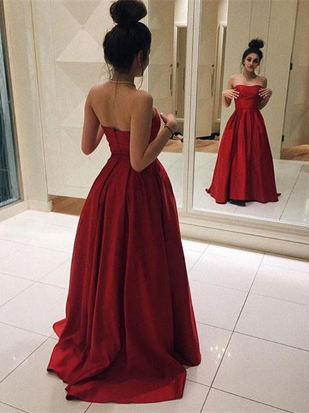 Simple Red Long Prom Dress, Red Long Formal Dress, Graduation Dress