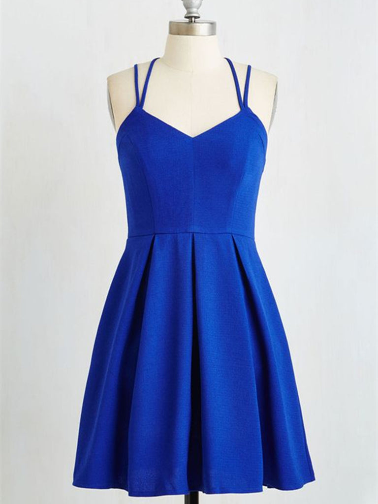 c797cf593fd A Line Royal Blue Short Prom Dress with Cross Back