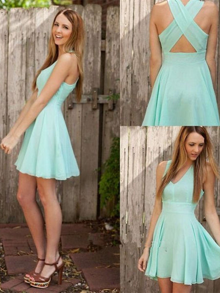 Short V Neck Green Prom Dress with Cross Back, Short Green Formal Dress, Graduation Dress, Homecoming Dress