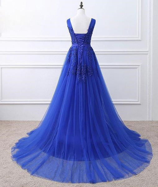 A Line V Neck Royal Blue Lace Prom Dresses, Royal Blue Lace Formal Dresses, Lace Graduation Dresses