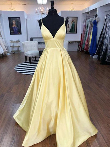 A Line V Neck Floor Length Yellow Prom Dresses, V Neck Long Yellow Formal Graduation Evening Dresses