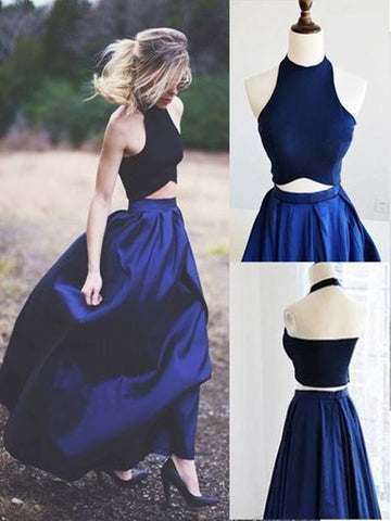 Custom Made 2 Pieces Dark Blue Prom Dresses, Simple Formal Dresses, Bridesmaid Dresses