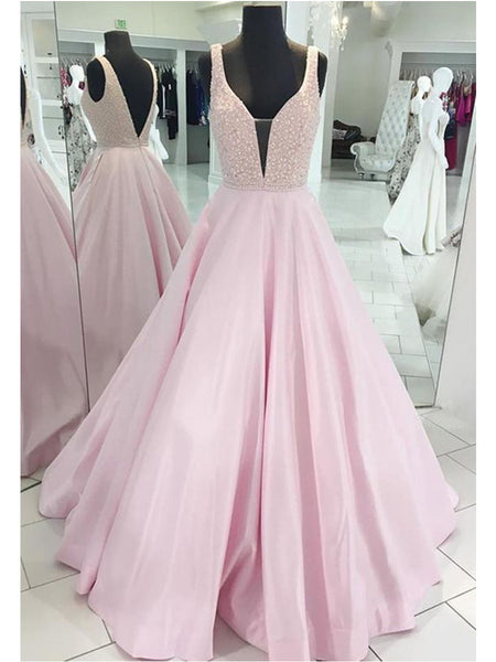 A Line Deep V Neck Pink Backless Prom Dress,  Pink Backless Graduation Dress, Formal Dress