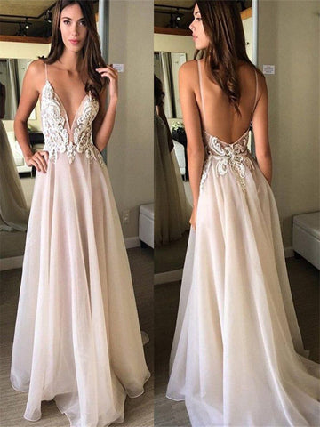 Custom Made A Line V Neck Backless Prom Dress, Backless Formal Dress