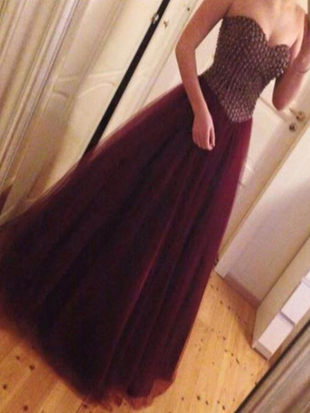 Custom Made Sweetheart Neck Strapless Floor Length Maroon Prom Dress, Prom Gown, Formal Dress