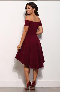 A Line Off Shoulder High Low Burgundy Prom Dress, High Low Formal Dress, Burgundy Graduation Dress, Homecoming Dress