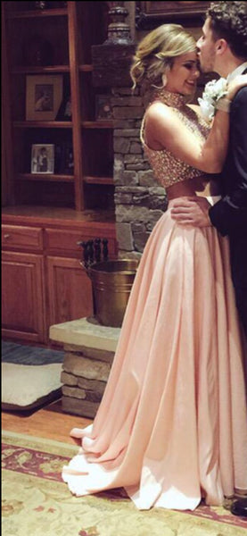 Custom Made 2 Pieces Pink Prom Dresses, Formal Dresses, Evening Dresses