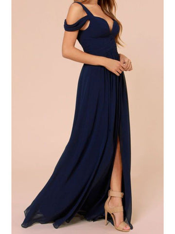 Custom Made A Line Off Shoulder Navy Blue Long Prom Dress, Navy Blue Formal Dress, Bridesmaid Dresses