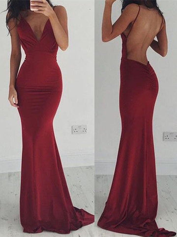 Elegant Burgundy Mermaid Open Back Prom Dresses, Maroon Backless Formal Dress