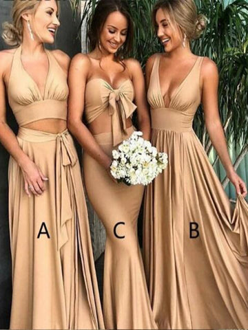 Custom Made Champagne Bridesmaid Dresses, Champagne Formal Dresses, Wedding Party Dresses
