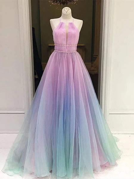 A Line Halter Neck Ombre Long Prom Dresses, Multi Color Ombre Long Formal Evening Dresses
