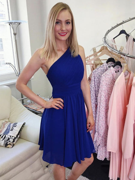 A Line One Shoulder Short Royal Blue Pink Prom Dresses, Royal Blue Pink Short Formal Evening Bridesmaid Dresses