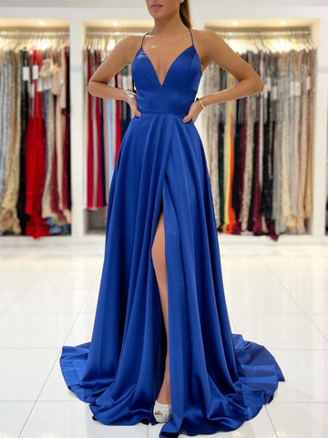 A Line V Neck Backless Royal Blue Long Prom Dresses, Open Back Royal Blue Long Formal Evening Dresses