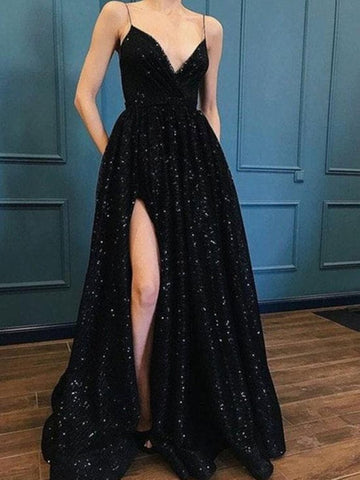 A Line V Neck Black Lace Long Prom Dress, Black Long Lace Formal Evening Dresses
