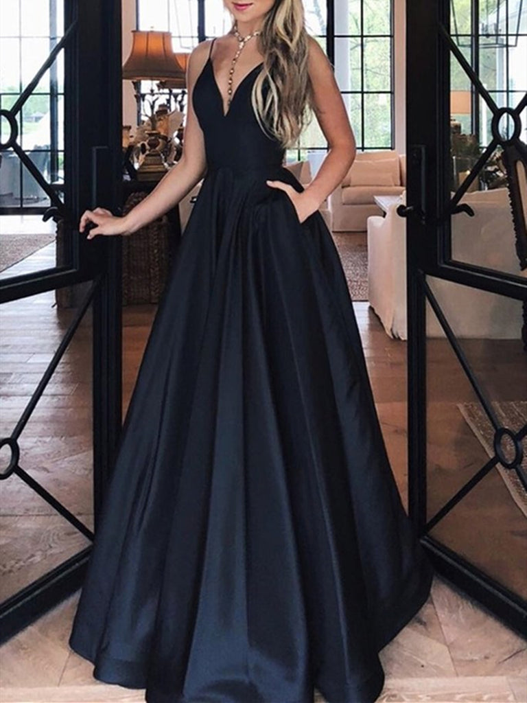 A Line V Neck Black Long Satin Prom Dresses, Black Satin Formal Evening Dresses