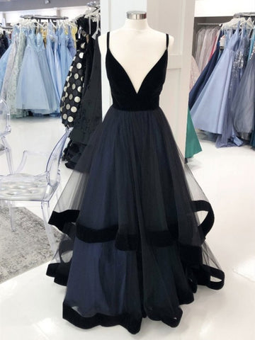 A Line V Neck Black Tulle Long Prom Dresses, Black Long Formal Evening Dresses