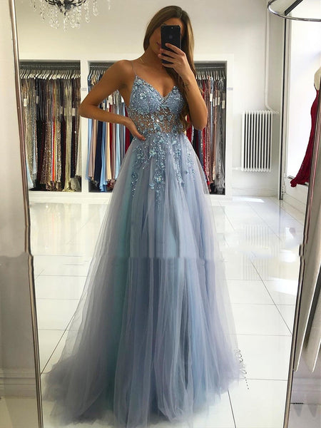 A Line V Neck Blue-Gray Long Prom Dresses, Blue-Gray Beaded Long Formal Evening Dresses