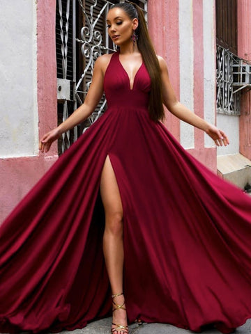 A Line V Neck Burgundy Long Prom Dresses, Burgundy V Neck Long Formal Bridesmaid Dresses