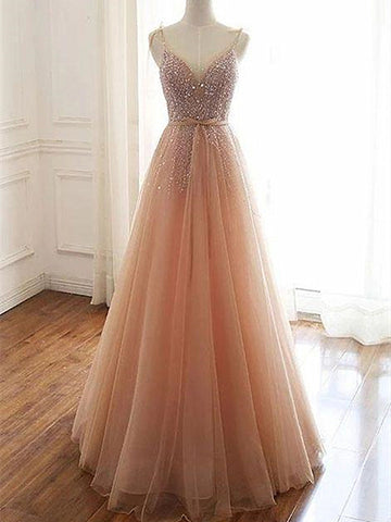 A Line V Neck Champagne Tulle Long Prom Dresses, Champagne Tulle Long Formal Evening Dresses