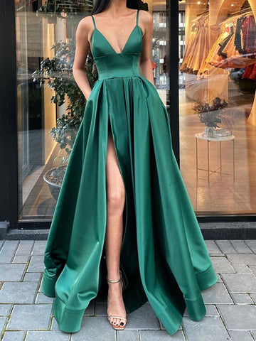 A Line V Neck Dark Green Long Prom Dresses with Leg Slit, High Slit Green Formal Evening Dresses