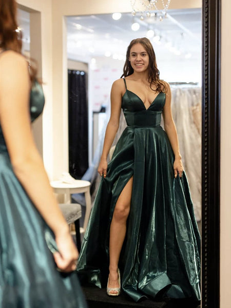 A Line V Neck Dark Green Satin Prom Dresses, V Neck Green Formal Evening Dresses with Leg Slit