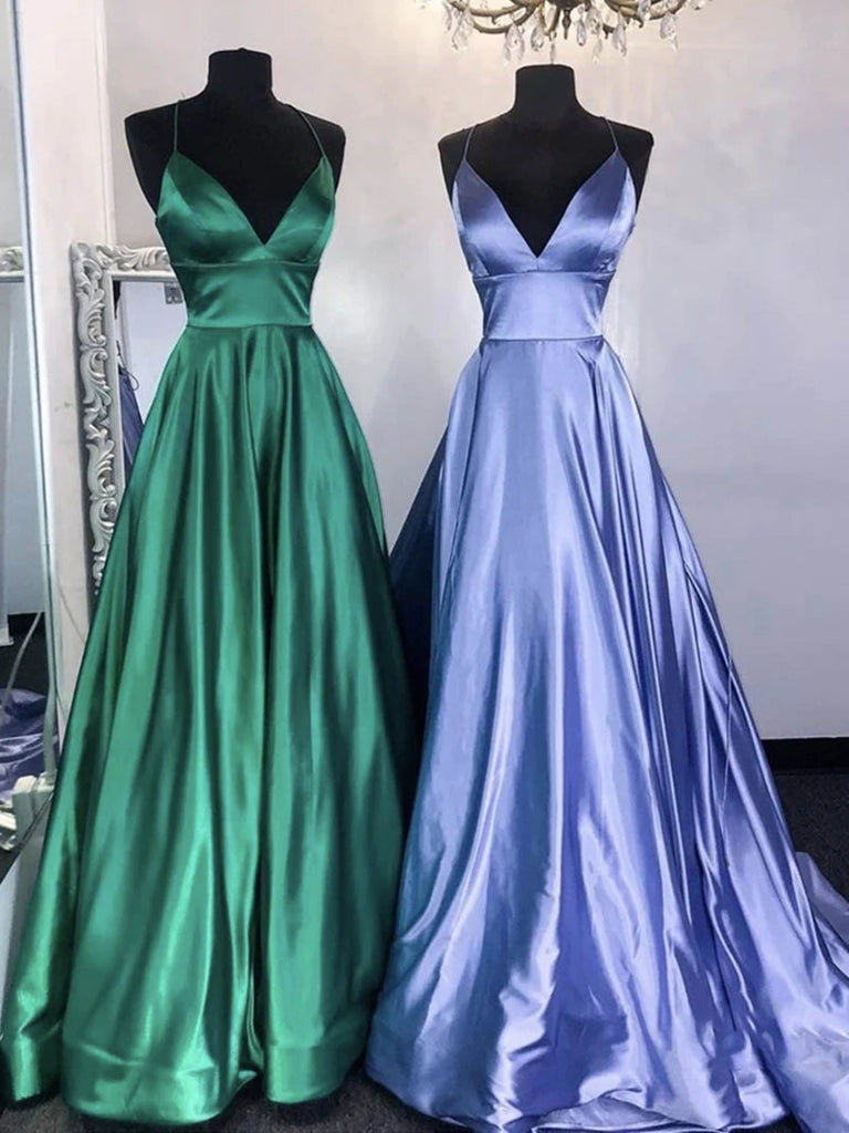 A Line V Neck Green/Blue Long Prom Dresses, Green/Blue Long Formal Evening Dresses