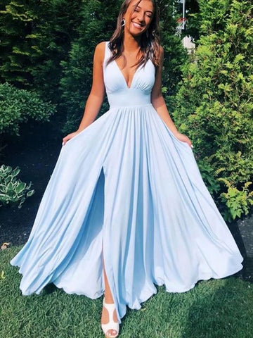 A Line V Neck Light Blue Long Prom Dresses, Light Blue Long Formal Bridesmaid Dresses