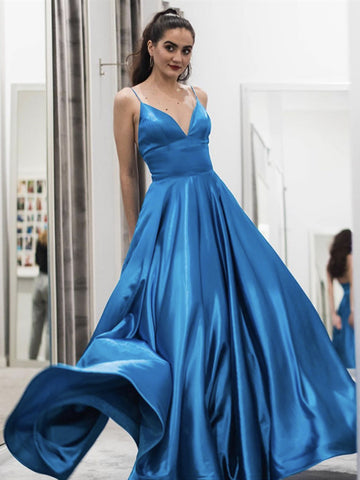 A Line V Neck Long Blue Prom Dresses, Blue V Neck Long Formal Evening Dresses
