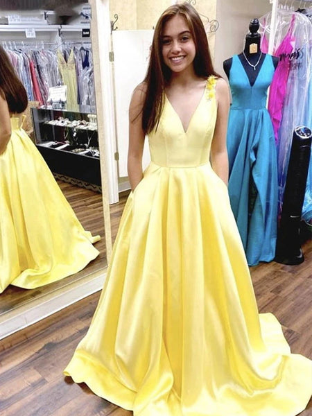 A Line V Neck Long Yellow Prom Dress with Flower Straps, V Neck Yellow Formal Evening Dresses