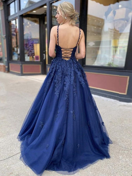 A Line V Neck Navy Blue Lace Prom Dresses, Backless Navy Blue Lace Formal Evening Dresses