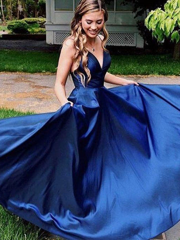 A Line V Neck Navy Blue Long Satin Prom Dresses, Navy Blue Long Formal Evening Dresses