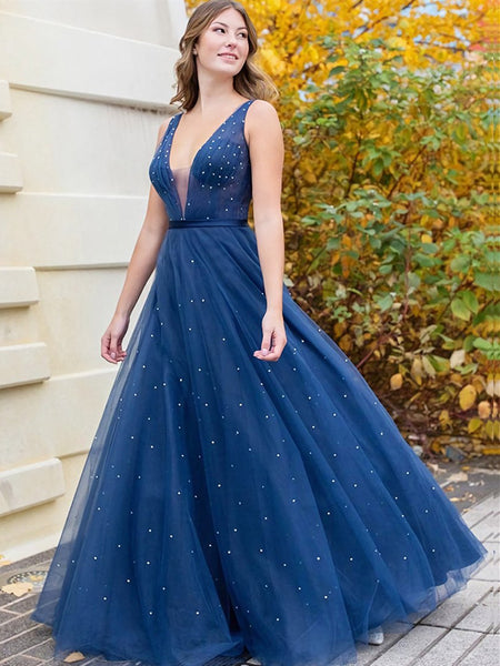 A Line V Neck Navy Blue Tulle Prom Dresses, V Neck Dark Blue Tulle Long Formal Evening Dresses