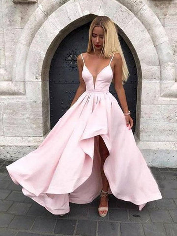 A Line V Neck Pink High Low Satin Prom Dresses, Pink High Low Satin Formal Evening Dresses