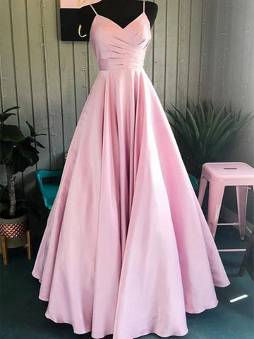 A Line V Neck Pink Spaghetti Straps Satin Long Prom Dresses, Pink Long Formal Evening Graduation Dresses