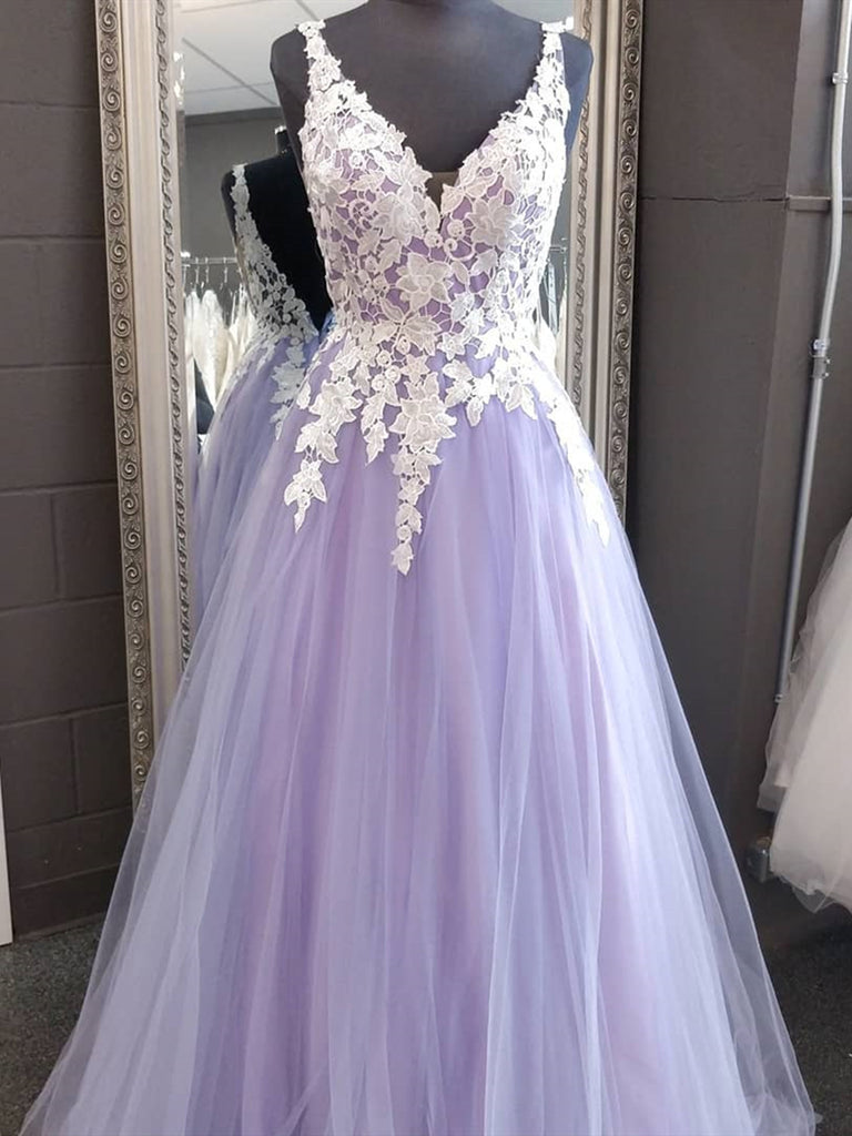 A Line V Neck Purple Blue Lace Prom Dresses, Purple Blue Lace Formal Evening Dresses