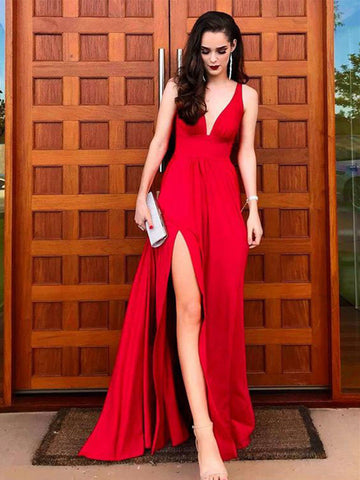 A Line V Neck Red Long Prom Dresses, Red V Neck Long Formal Evening Bridesmaid Dresses